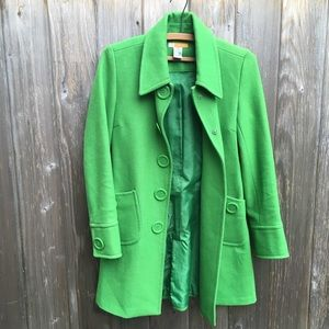 Tulle wool green jacket peacoat small trench coat